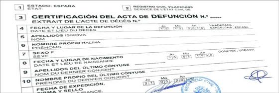 certificado de defunción España