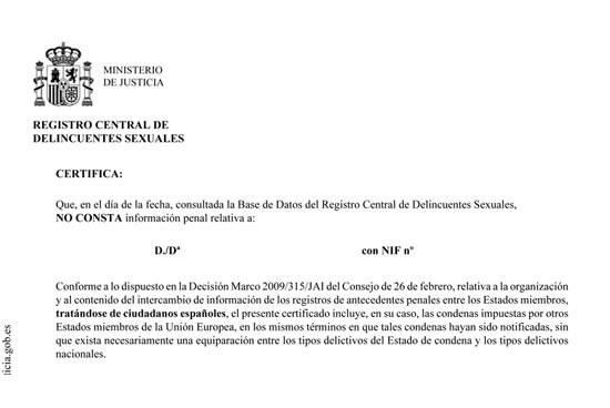 certificado de registros sexuales España
